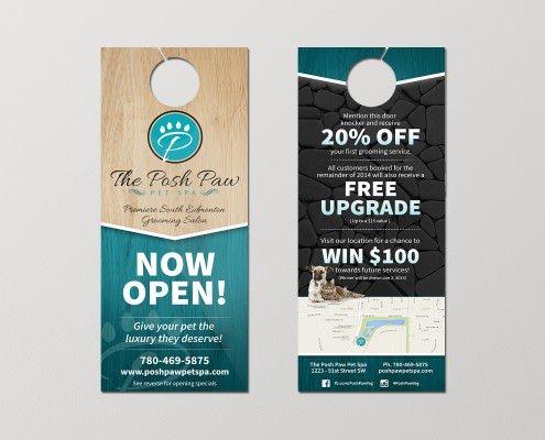 Edmonton Graphic Design | The Posh Paw Pet Spa Door Hanger