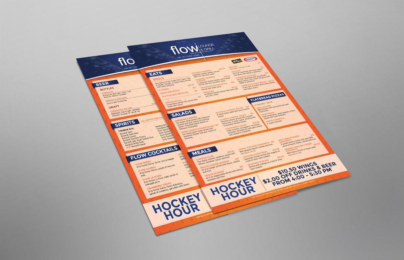 Edmonton Graphic Design | Flow Lounge Menu